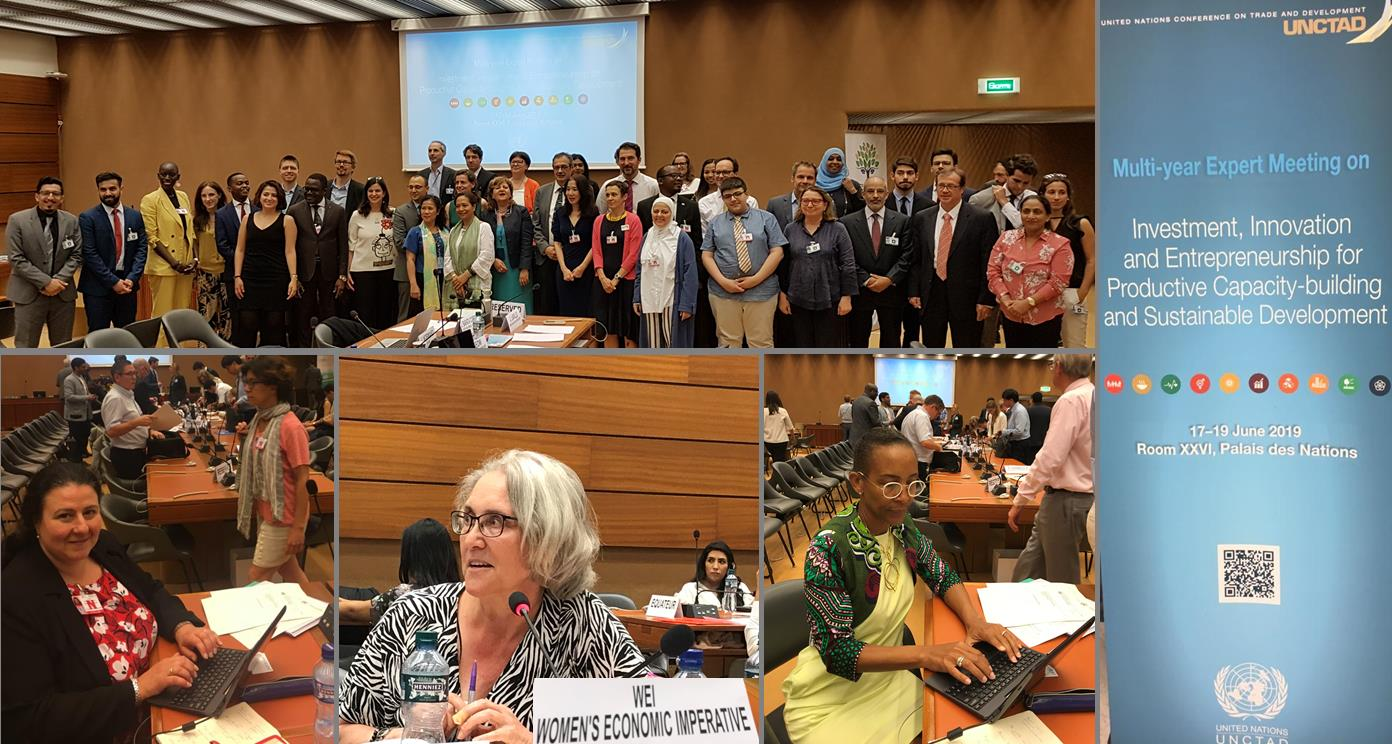 A WEI delegation took part in the 7th session of the United Nations Conference on Trade and Development (UNCTAD) Multi-Year Expert Meeting on Enhancing the Inclusive Dimension of Enterprise Development which took place at the Palais des Nations, Geneva between 17-19th June 2019. The delegation consisted of Yolanda Gibb, Trade Lead, who was a discussant during the session covering Empowering Women Entrepreneurs; Noreen Burroughes Cesareo and Nicole Pitter Patterson.